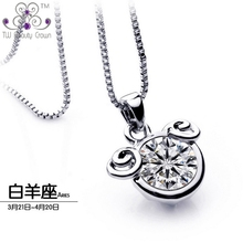 2015 Authentic 925 Sterling Silver Modern Design White Crystal Cubic Zirconia Aries Pendants Necklaces For Women Fashion Jewelry