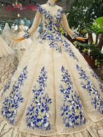AXJFU Luxury Princess blue flower champagne lace wedding Dress vintage beading crystal wedding dress 100% Real Pictures 314474