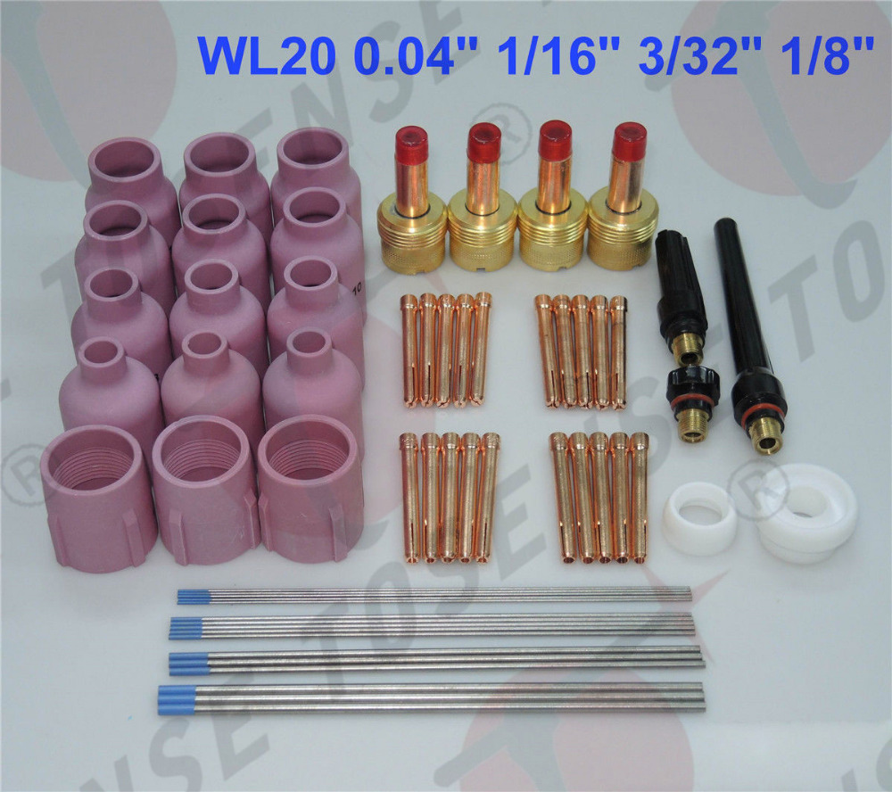 60 pcs TIG Torch Large Gas Lens WP-17/18/26 WL20 Tungsten 0.04 1/16 3/32 1/8 18 pk tig torch large gas lens wp 9 20 25 wp tungsten 0 04 1 16 3 32