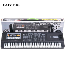 EASY BIG Musical Educational 61 Keys Electronic Piano Keyboard Toys With Microphone Musical Kids Toy Gift For Boys Girls TH0052 110x36cm musical mat keyboard music carpets piano play mat touch keys melody instrument educational toy gift for boys