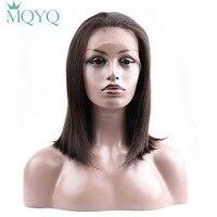 MQYQ Straight Short Bob Lace Front Wig For Women Lace Front Wigs #2 Brown Pre Colored Human Hair Wigs Pre Colored Brazilian Wig