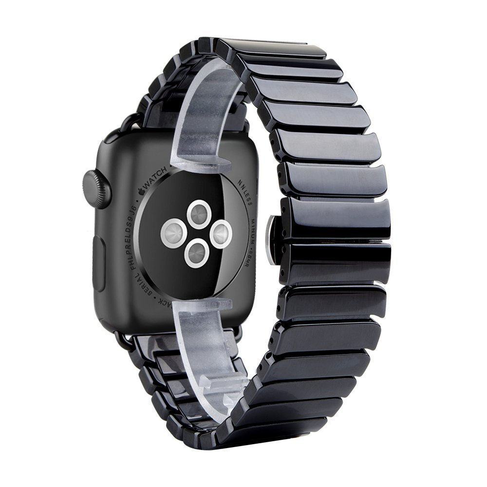 Apple Watch 42mm 38mm Band Luxury Ceramic Bracelet Watch Band Strap Replacement Wrist Band for Apple Watch Sport Black White
