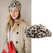 Fashion French Rabbit Leopard Beret Hats Woman Winter Baret Cap for Women Girl Top Hat Autumn Beanies Femme WH094