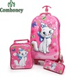 Girls Rolling Luggage Set 3 PCS Cute Cat Trolley Suitcase for Kids Children Cartoon Pink Luggage with Wheels Students Schoolbag