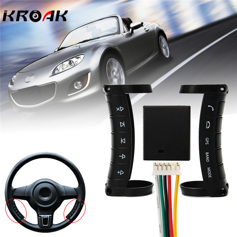 Kroak Universal Wireless Car Steering Wheel Button DVD GPS Remote Control For Stereo DVD GPS dongxin mercedes benz sl65 speed remote control steering wheel 1 18 car drift charge black