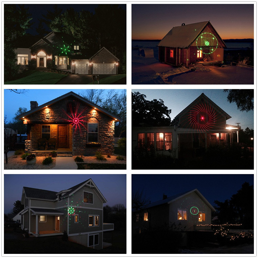 Laser Projector Lights Red&Green Moving starry sky Landscape Light Christmas indoor Outdoor Decorations Garden Spotlights