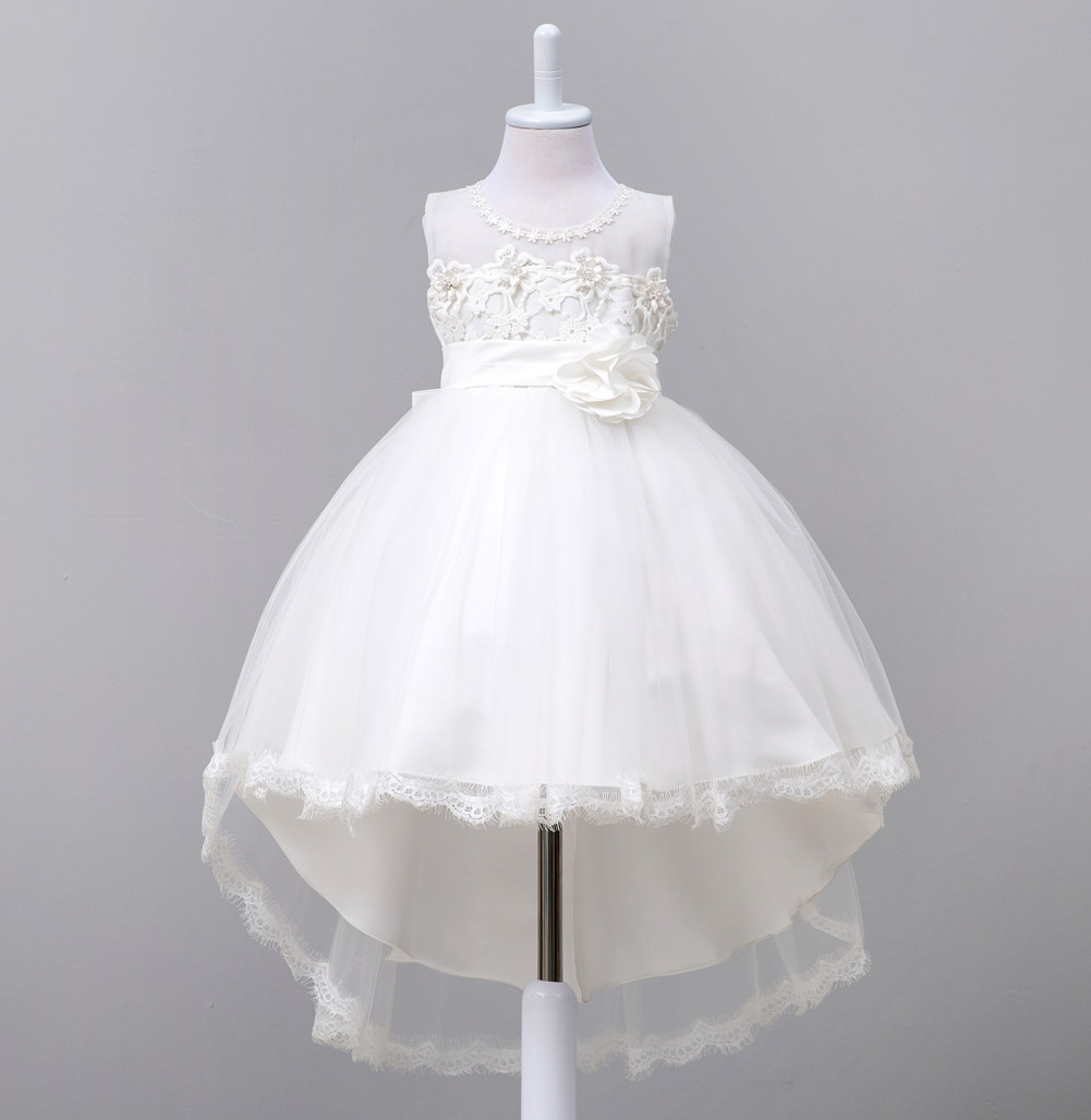 2017 New Flower Girl Dresses For Wedding Girls Floral Trailing Manual Beaded Prom Lace Dresses Baby Girl Party Gown Kids Clothes summer flower girl wedding dress toddler floral kids clothes lace birthday party graduation gown prom dresses girls baby costume
