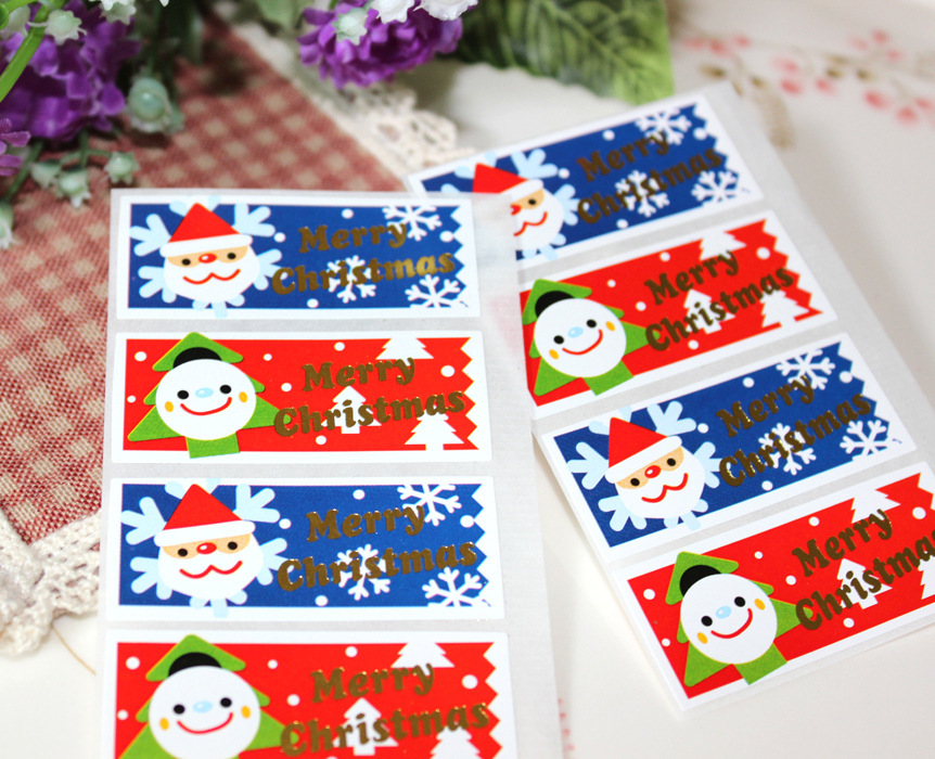 New christmas tree baby doll sealing packaging stickers for Application box decoration