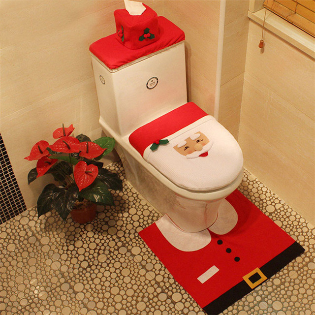 Christmas Toilet Set Cover Restroom Seat Santa Snowman Bath Rug Mat Tissue Paper Holder Xmas