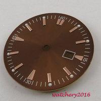 34.8 мм коричневый циферблат окошко даты подходят ETA 2836 mingzhu 2813 4813 движение циферблате