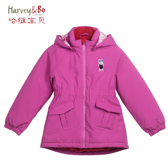 9b7909940 Girls autumn winter outerwear kids hooded jackets waterproof children brand outdoor  coat cotton-padded plus velvet 3-8 years