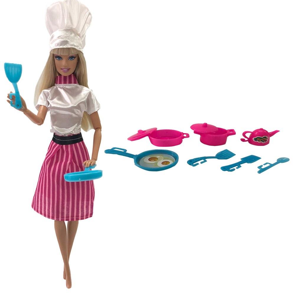 Nk 2020 2 Item Set Doll Pakaian Memasak Pakaian Chef Dress Dapur Rumah Memasak Mainan Untuk Boneka Barbie Mainan Boneka Aksesoris Boneka Aliexpress