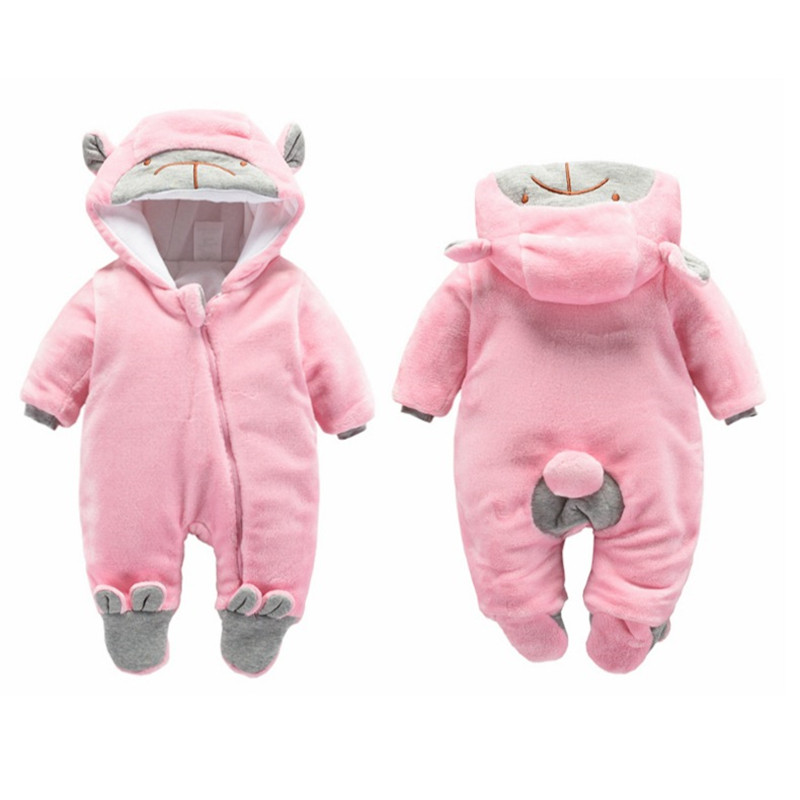 Baby footed romper autumn winter newborn jumpsuit clothes winter boys girls thick trousers Bebe pajamas baby warm outfit цена 2017