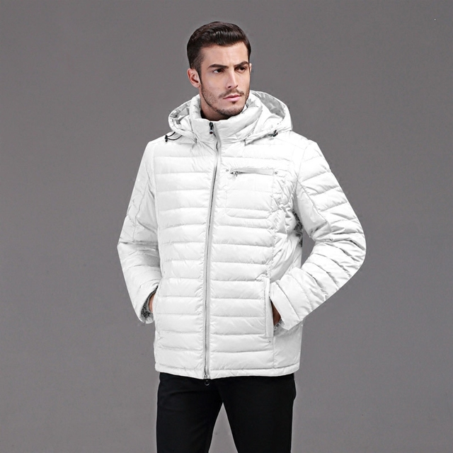 d1b18d1ebc duck down jacket men Europe and USA thickening with a hooded short design winter  down coat young men white warm down jacket Q126