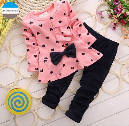cd9e1682ff516 2018 2 - 5 years old cartoon bowknot baby girls clothes set coat + trousers kids  clothes suit children princess cotton clothing