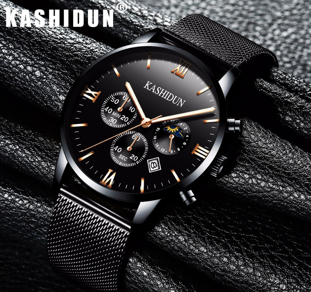 KASHIDUN Men s Watches Luxury Military Luminous Casual Wrist Watch Chronograph Mesh Alloy Steel Quartz Watch