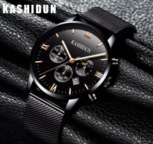 KASHIDUN. Men's Watches Luxury Military Luminous Casual Wrist Watch Chronograph Mesh Alloy Steel Quartz Watch relogio masculino