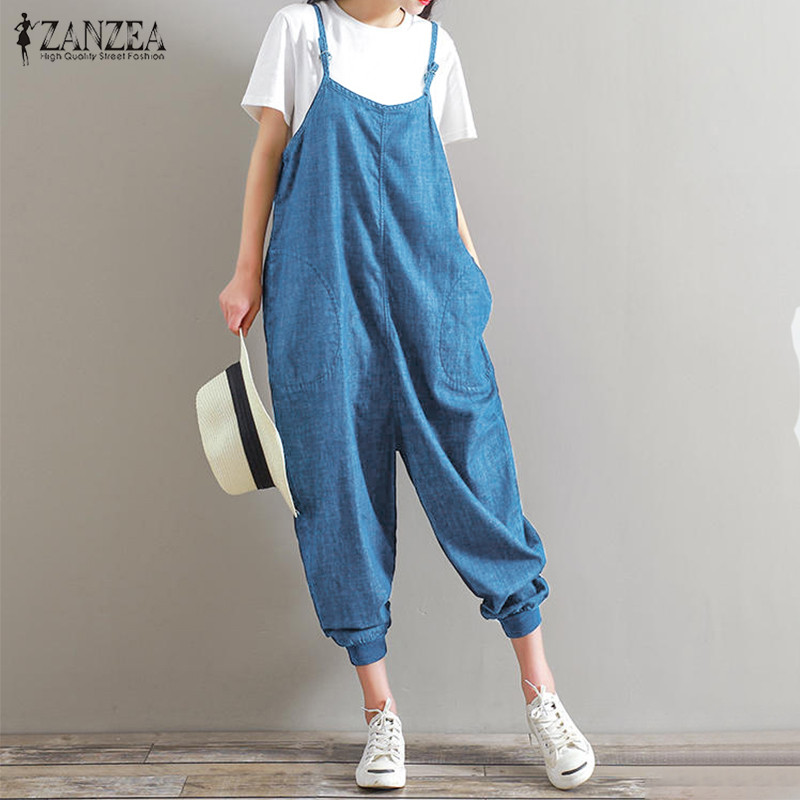 ZANZEA Rompers Womens   Jumpsuit   2019 Summer Overalls Casual Loose Sleeveless Backless Playsuits Bottoms Pants Plus Size 5XL
