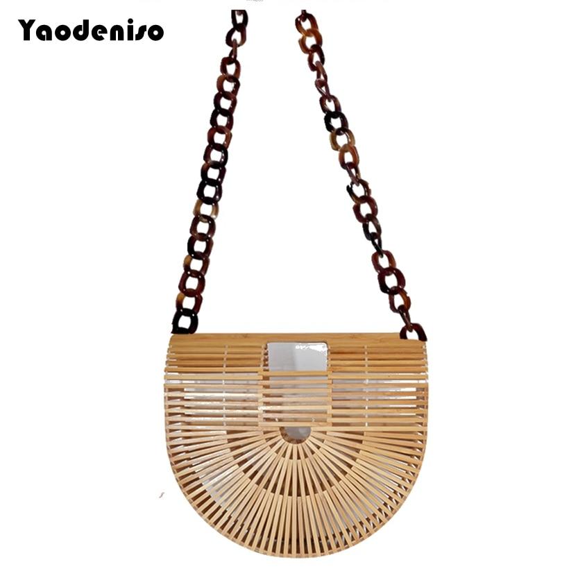 цена INS Women Shoulder Bags Summer Bamboo Bag Beach Bag Female Handmade Women Beach Handbags Bamboo Totes Travel Hand Bags bolso в интернет-магазинах