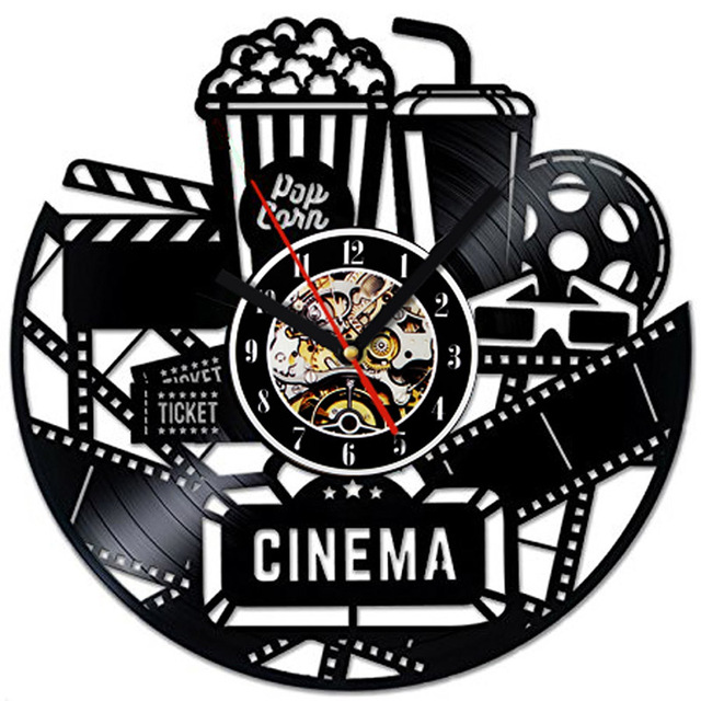 Creative Black Hollow Cinema Popcorn Design CD Vinyl Record Wall Clock  Antique Personalized Wall Art Decor