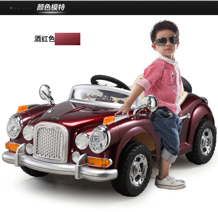size125x70x52cm 14 scale rc electric vintage car kids ride on toy with