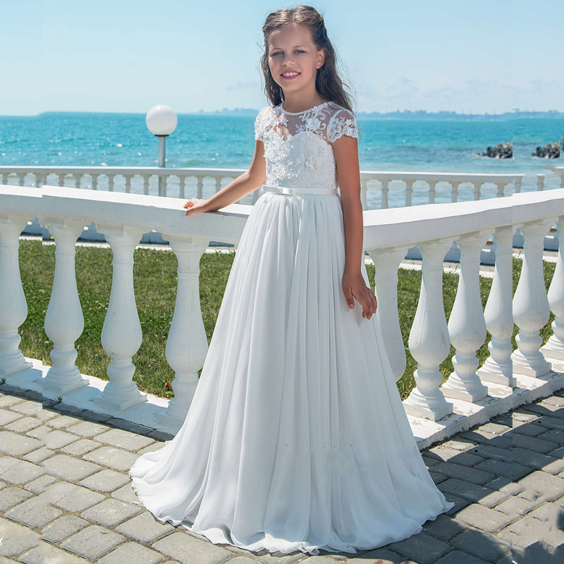 New Arrivals Lovely Princess Girls Lace Appliques Cap Sleeve Long Chiffon Wedding Gowns Flower Girls First