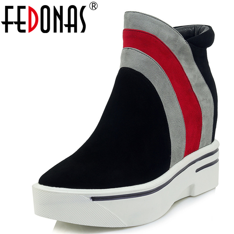 FEDONAS 1Fashion Women Ankle Boots Autumn Winter Suede Leather Wedges High Heels Shoes Pointed Toe Casual Quality Basic Boots цена 2017