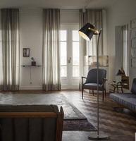 Vertical lâmpada de assoalho Moderna Nordic minimalista sala lâmpada de assoalho luz do quarto de cama de Ferro personalidade preto FG420