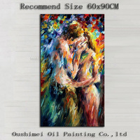 Hand painted Modern Abstract Palette Knife Oil Painting on Canvas Couple Nude Portrait Lover Kissing Wall Artwork Decorative Art