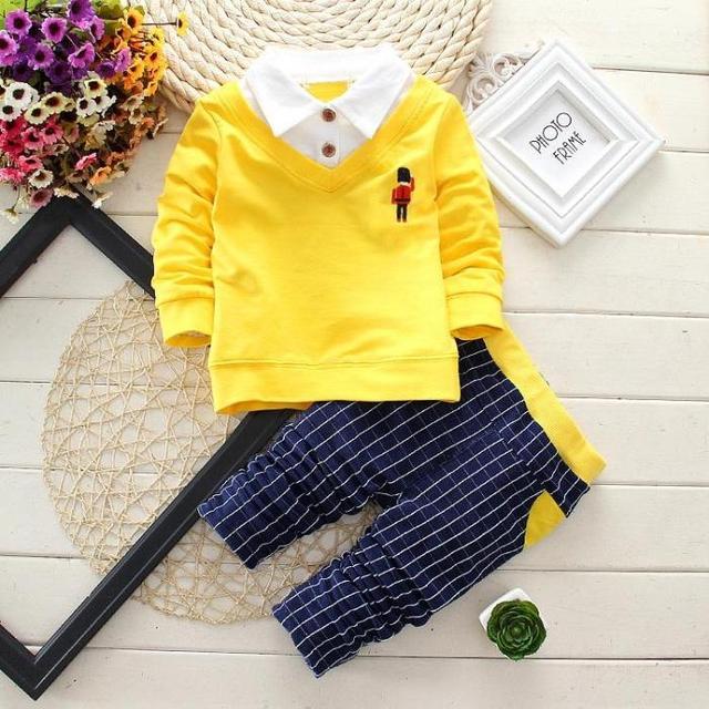 Ropa para niños set niños bebé primavera conjunto bebé ropa de deporte traje 2 unidades set t-shirt + pant ropa de los niños