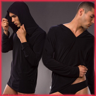 male leugth long-sleeve sleepwear lounge hooded casual top silky male top