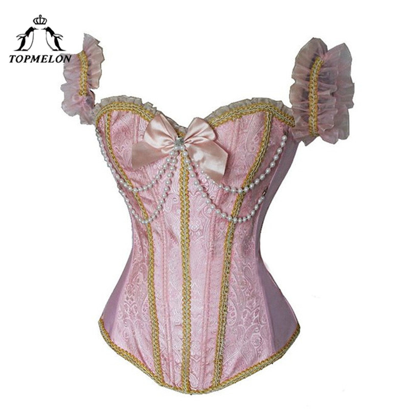 TOPMELON Steampunk   Corsets   and   Bustiers   Gothic Corselet   Corset   Women   Bustier   Beading Halter Plays Party Club Shows   Corset   Tops