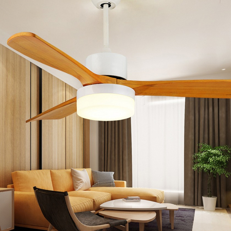 Retro Scandinavian fan light three hair leaves ceiling fan light Chinese style solid wood lamp living room lamp ultra quiet rest ...