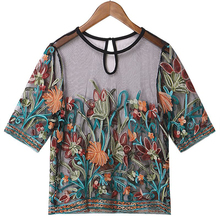 Floral Embroidery Mesh Transparent Sexy Women's Crop Tops Hollow Vintage See Through Thin Tunic Blouse Semi Sheer Summer Tops plus embroidery ruffle hem semi sheer blouse