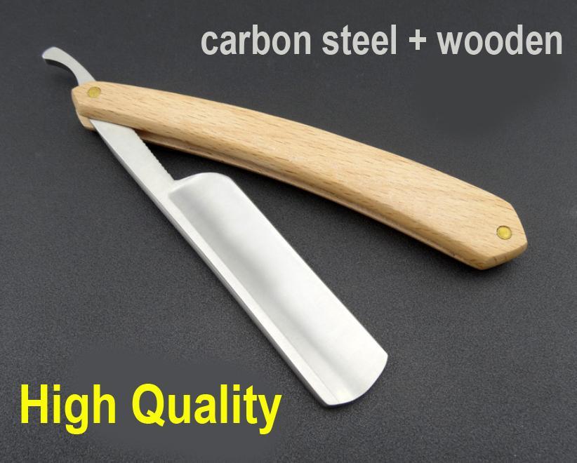 Hand Polished High Quality Carbon Steel Barber Shaving Razor Hair Cutting Knifes,wooden Handleblade Men's Razors  Tonsure