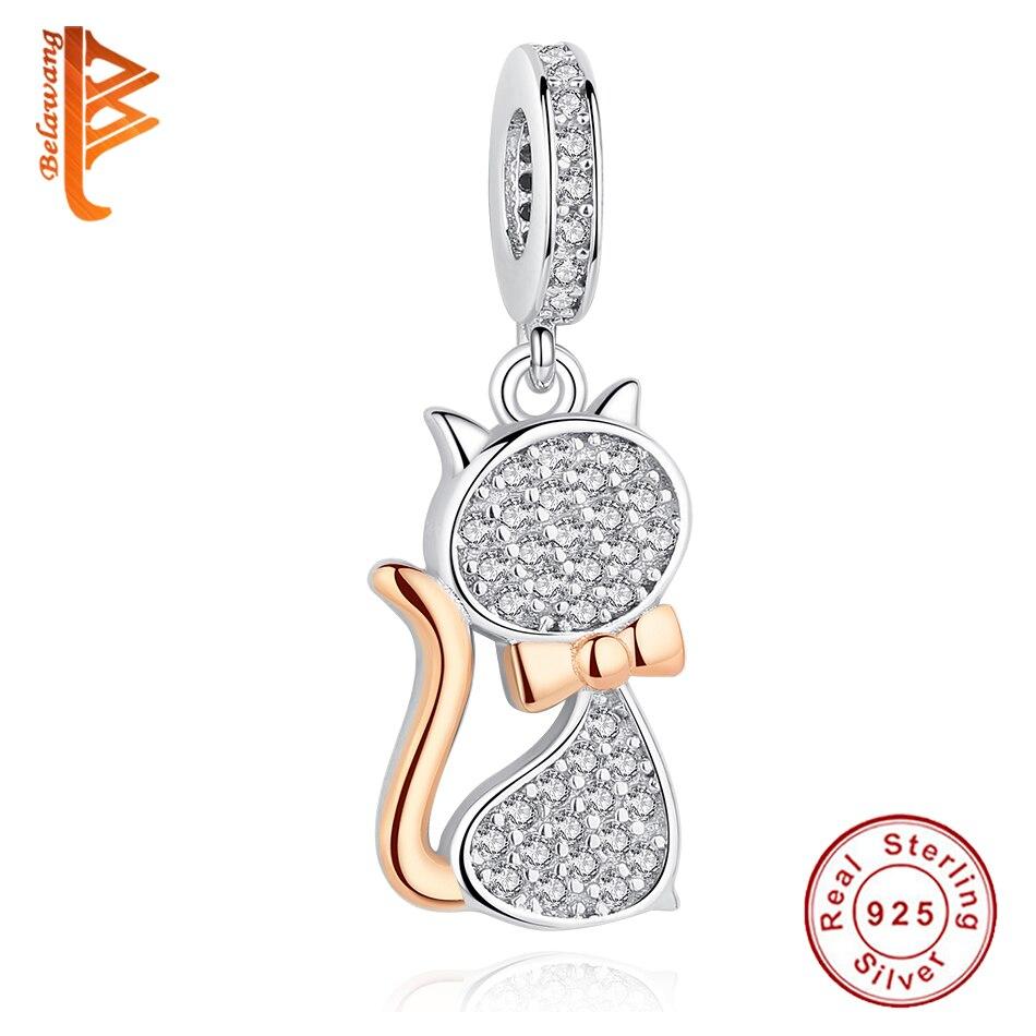 Auténtico 925 encantos de plata esterlina oro rosa gato Charm Bead Fit pulseras de Pandora DIY Original de la joyería de la plata esterlina 925