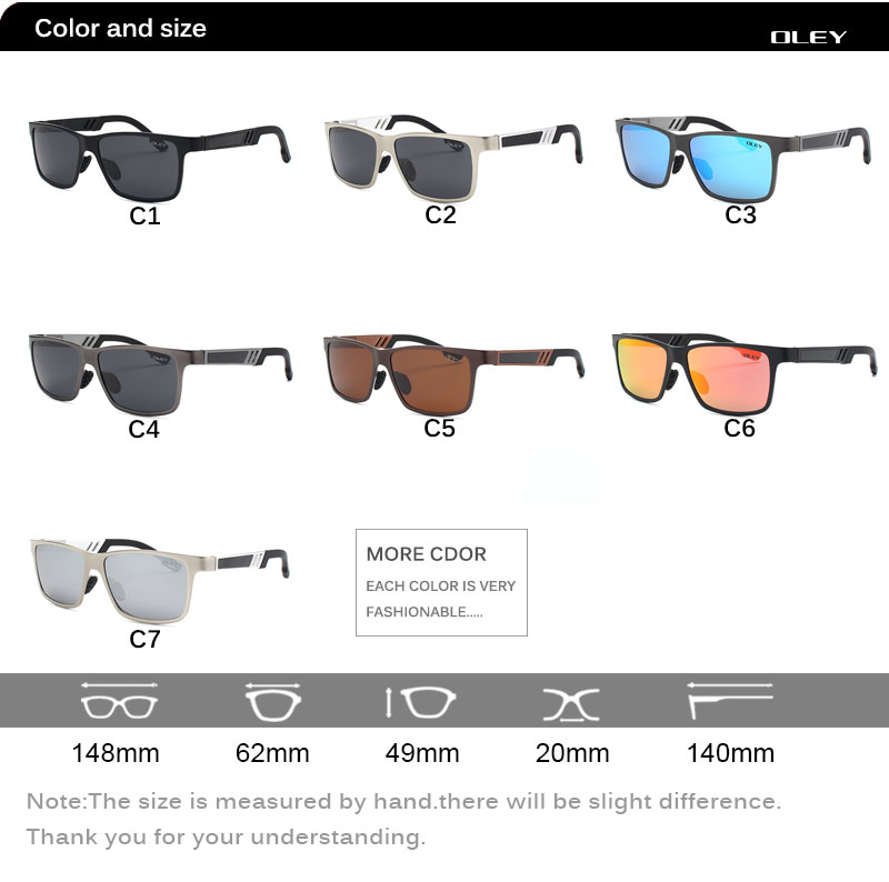 OLEY Men Polarized Sunglasses Aluminum Magnesium Sun Glasses Driving Glasses Rectangle Shades For Men masculino Male