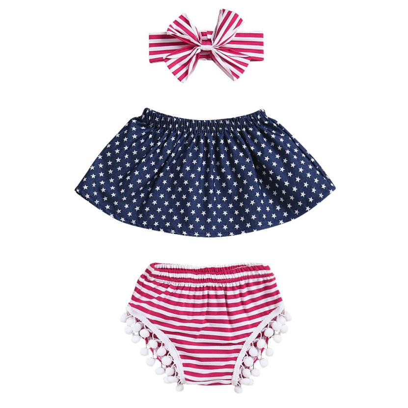 MUQGEW 3Pcs Infant Baby Girls 4th Of July Star Tops+Shorts+Headband Outfits Set Clothes Outfits Bebek Giyim Toddler Kids cloth