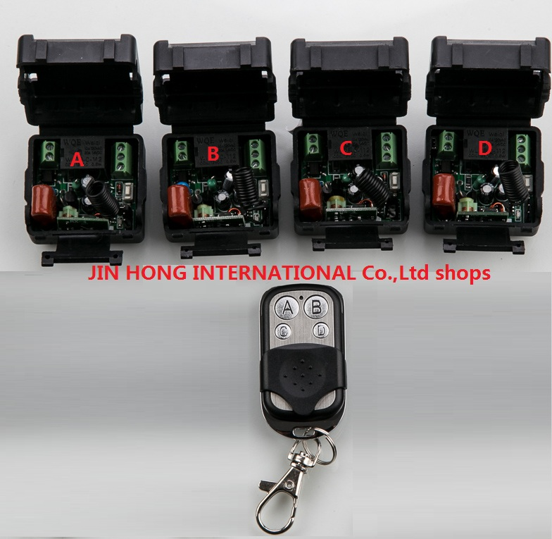 New AC 220 v 1 ch RF wireless remote control switch 4 mini receiver +1 transmitter With 4 buttons Toggle Momentary Latched new ac 220v 30a relay 1 ch rf wireless remote control switch system toggle momentary latched 315 433mhz