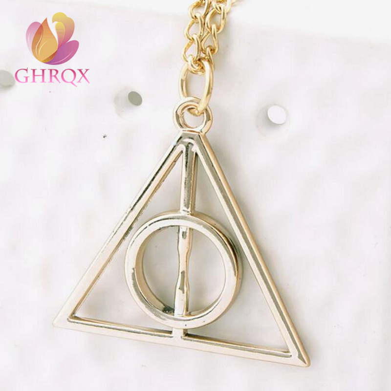 jewelry Accessories Harry and the Deathly Hallows Potter Pendant Necklace Retro Triangle Round Sweater Chain Necklace