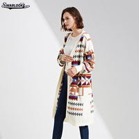 Swarlooke 2017 Autumn Winter New Fashion Women Clothing Casual Open Sitch Coat Geometricl Retro Trend Lady