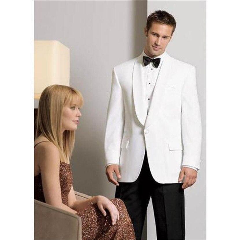 White One Butoons Groom Tuxedos Shawl Lapel Groomsmen Men Wedding Suits ( Jacket+Pants+tie)