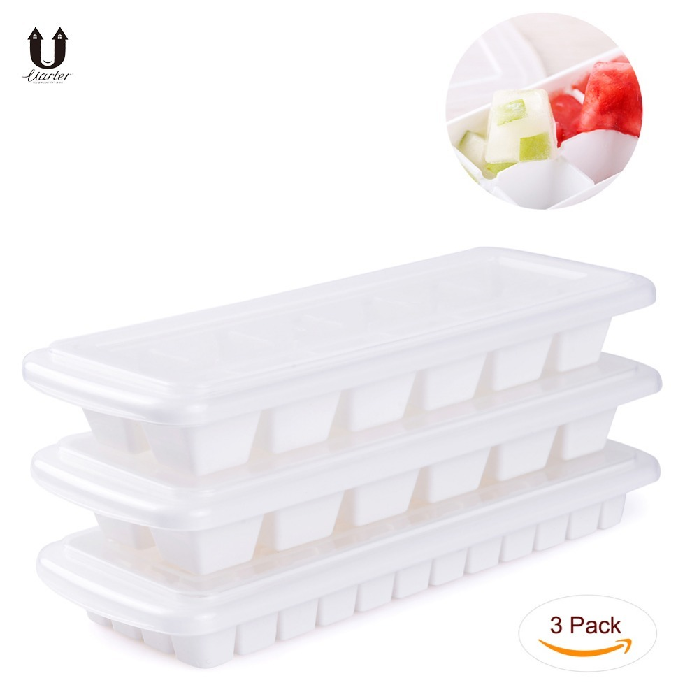 UARTER 3PCS High quality No Spill Ice Cube Tray with Removable Cover BPA and Odor Free Ice Cube Maker Trays
