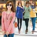2016 Suéter de La Manera para Las Mujeres con la Insignia Invierno Suéteres Que Hacen Punto Suéter de la Mujer más el tamaño Beige, Azul, Rosa, amarillo, Verde, de Color Caqui