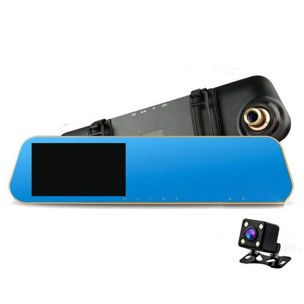 Full HD 1080P 4.3 Inch Rear View Mirror 140 Degrees Car Vehicle DVR With Dual Lens Night Vision Dash Cam Recorder