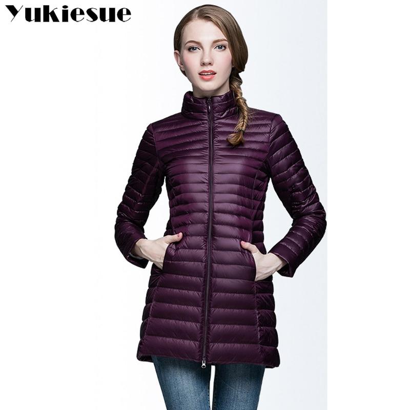 Women   down   jackets long   coat   2017 winter warm 90% white duck   down   parka jackets slim skinny Light female jackets Windproof