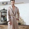 Мужчина шелкопряда шелк вышитые бархат тепловой великолепный клип халат