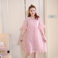 Breastfeeding clothes out dress summer new embroidered mesh feeding clothes pregnant women chiffon dress