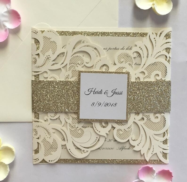 Ivory laser cut wedding invitations with glitter belly band ivory laser cut wedding invitations with glitter belly band engagement birthday invitation cards convites kits filmwisefo