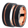 8mm / 6mm Wide Black with Rose Gold Plated Tungsten Wedding Band for Women Men Comfort Fit Couple Lovers Anniversary Ring TU730R